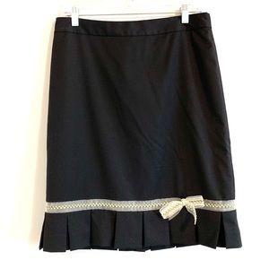 Banana Republic Black Wool Skirt with Bow Detail